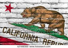 California State Flag Painted On Brick Wall