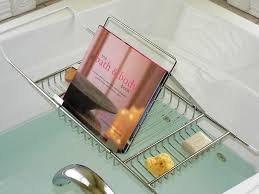 designs mesmerizing bathtub caddy with reading rack and wine