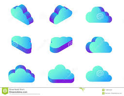 100 Flat Cloud Isometric Computing Icons Vector In Dif Stock