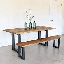 Reclaimed Live Edge Dining Table With 3quot X Rectangle Metal Legs