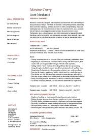 Auto Mechanic Resume Vehicles Car Sample Example Job Cover Letter Printable Description