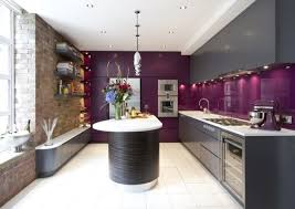 Purple Grey Kitchen Design Decor