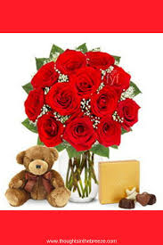 $75 95 1Dozen Red Roses with Godiva Chocolates and Bear This garden
