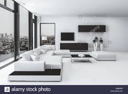 moderner luxus wohnzimmer interieur in schwarz und weiß