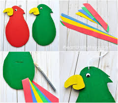 4 When Your Parrot Is Finished Drying Have An Adult Cut A 1 Inch Strip In The Center Of Body For Wing Feathers And At