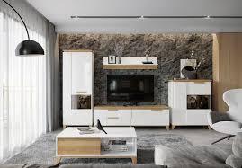 wohnzimmer komplett set a safotu 5 teilig farbe weiß hochglanz walnuss