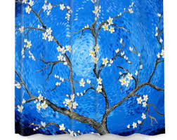 Cherry Blossom Curtain Blue by Blue Shower Curtain Etsy
