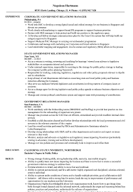 Government Relations Manager Resume Sample