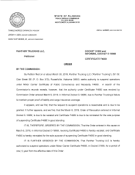 100 Panther Trucking LLC LLC Authority To Suspend