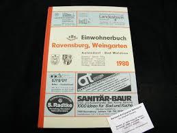 einwohnerbuch ravensburg weingarten 1980 aulendorf bad waldsee und baienfurt baindt berg bergatreute fronreute grünkraut horgenzell