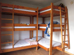trendy brown walnut wooden triple bunk bed with stairs as well as