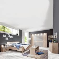 wiemann donna 2 schlafzimmer mit bett 5 türigem drehtürenschrank nachtkonsolen u ankleidebank steineiche nachbildung mit absetzungen kieselgrau dekor