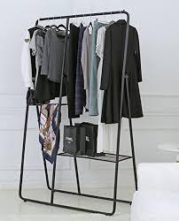 Modern Metal Clothing Rack Closet Organizer Garment Hanger Bar Shelf Combo Black
