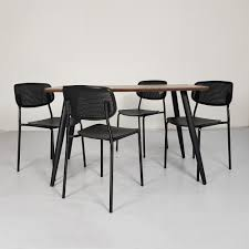 Cafe Dining Table Set- 120cm X 70cm (Dark Color)+ 4 Chairs