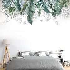 wandtattoos nature grüne tropische pflanze blätter wandaufkleber diy wandsticker wanddekoration für wohnzimmer schlafzimmer flur kühlschrank 109 x 52