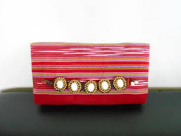 handmade red tribal clutch discovered