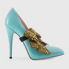 leather pump with crystal bow gucci women u0027s pumps 470734clg003628