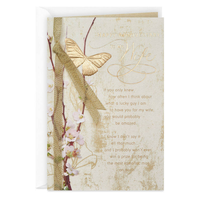 Gold Butterfly Anniversary Card for Wife