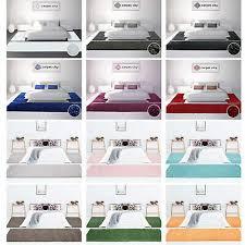 bettumrandung shaggy hochflor teppich läufer einfarbig 3 teilig schlafzimmer