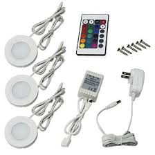 buy set of 3 rgb led cabinet lighting kit 2watt led puck