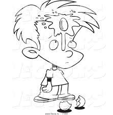 Vector Of A Cartoon Boy With An Egg On His Face