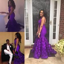 african purple mermaid prom dresses hand made floral train 2017