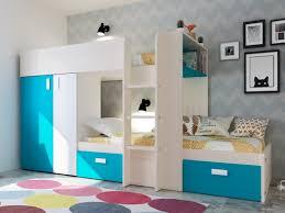 etagenbett mit kleiderschrank julien 2x90x190cm eichenholzfarben blau