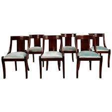 Set Of Six Antique French Empire Style Mahogany Dining Chairs