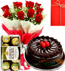 happy birthday bo t red roses bouquet chocolate cake ferrero rochher chocolate box with card
