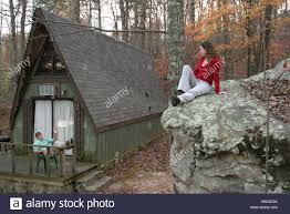 Alabama Mentone Cloudmont Resort alpine A frame rental cabin Lookout Mountain couple rock