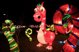 A dinosaur lantern is seen on the opening night of the China