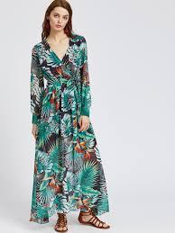 tropical print v neck chiffon dress with belt shein sheinside