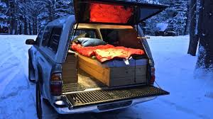 Truck Camping In Sub-Freezing Weather Side Shelve For Storage Truck Camping Ideas Pinterest Fiftytens Threepiece Truck Back Hauls Cargo And Camps In The F150 Camping Setup Convert Your Into A Camper 6 Steps With Pictures Canoe On Wcap Thule Tracker Ii Roof Rack System S Trailer The Lweight Ptop Revolution Gearjunkie Life Of Digital Nomad Best 25 Bed Ideas On Buy Luxury Truck Cap Camping October 2012 30 For Thirty Diy