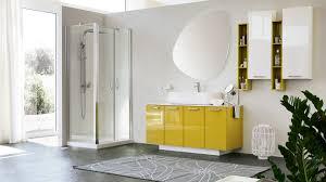 glänzendes gelbes kabinett für das badezimmer idfdesign