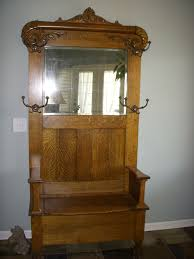 quater sawn oak hall tree with storage seat for sale antiques