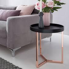 finebuy tabletttisch suva10593 1 design beistelltisch give mit tablett abnehmbar 40 cm rund kupfer couchtisch holz wohnzimmertisch als tabletttisch