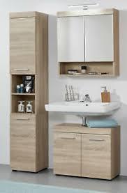 details zu bad möbelset badezimmer set 3 teilig mit hochschrank eiche sonoma möbel runner