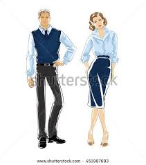 Vector Hand Draw Of Man And Woman In Formal Clothes Isolated On White Background