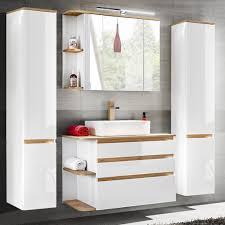 badezimmermöbel komplett set mit keramik waschtisch cos 56 hochglanz weiß mit wotaneiche 2 hochschränke b x h x t ca 194 x 200 x 50 cm