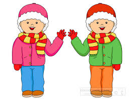 Children Clipart two twin boys wearing winter clothes Classroom