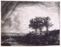 The Three Trees Etching With Drypoint And Engraving By Rembrandt Van Rijn 1643