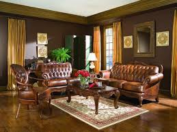 Living Room Rustic Traditional Decorating Ideas With Espresso Sofa Set Round Arms