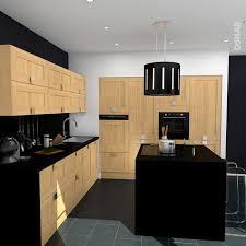 cuisine bois plan de travail noir idée relooking cuisine cuisine contemporaine bois brut et noir