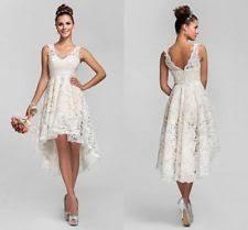 Hi Lo Lace Short Wedding Dresses Bridal Gown US Stock Size68101214