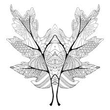 Fall Mirror Leaves Coloring Page