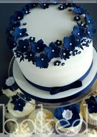 Navy Flower Cluster Cake Cupcakes