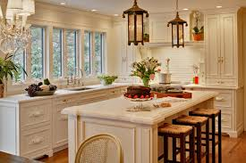 Example Of A Cottage Chic Kitchen Design In New York With Recessed Panel Cabinets