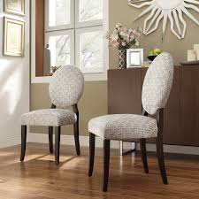 Inspire Q Blanca Round Back Gray Chain Print Fabric Dining Chairs ...
