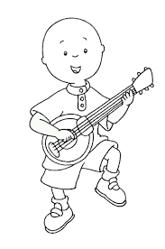 Caillou Coloring Pages Playing Guitar