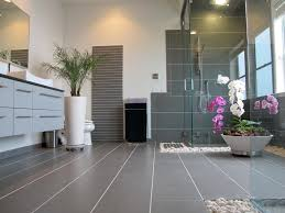 looking frameless shower doors in bathroom asian with gray tile